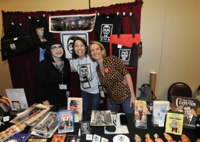 Vent Haven Museum dealers' table with Rebecca Cox, Annie Roberts,and Lisa Sweasy
