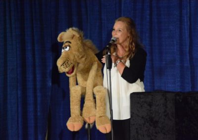 Lynn Trefzger with her goofy camel Camelot